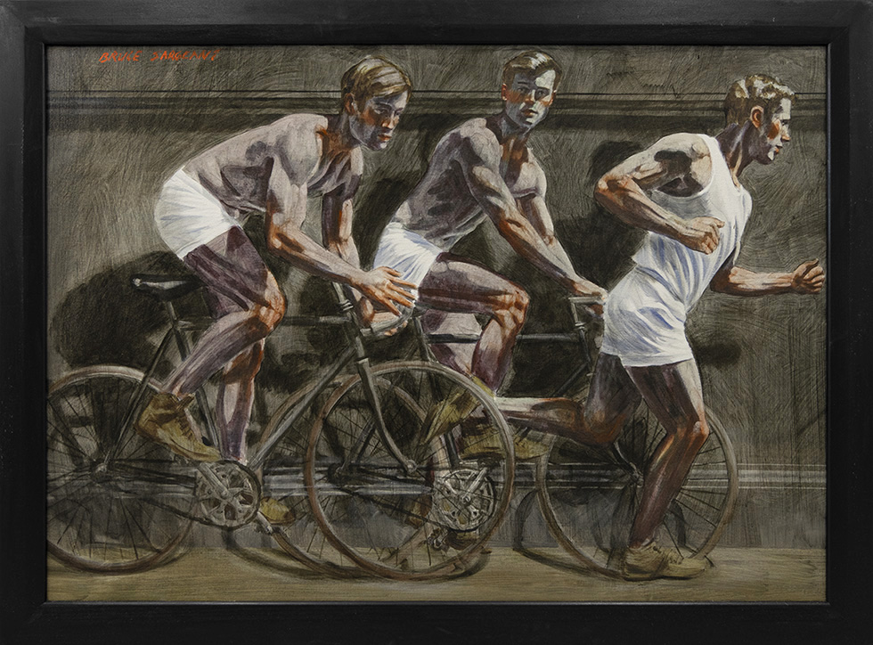 [Bruce Sargeant (1898-1938)] Frieze with Two Bicyclists and One Runner