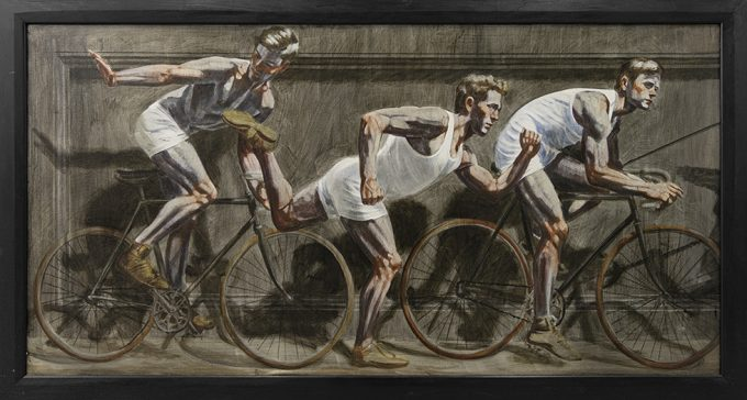 [Bruce Sargeant (1898-1938)] Frieze with One Runner Flanked by Two Bicyclists