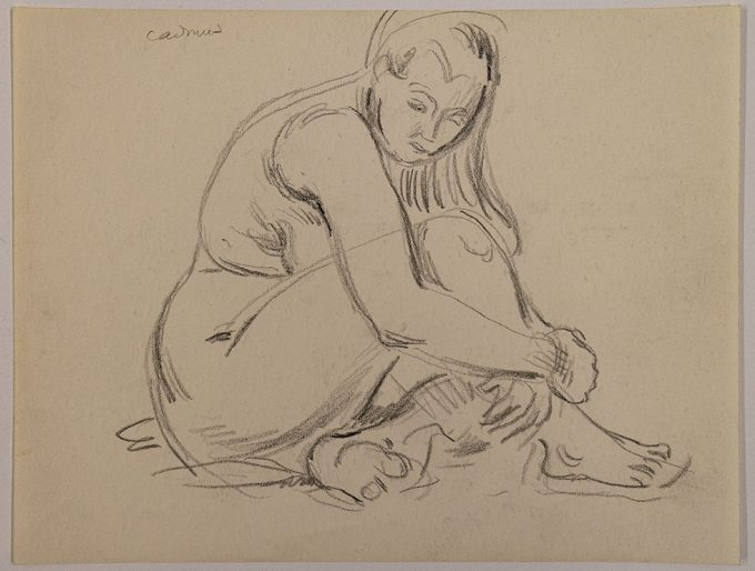 Paul Cadmus, Seated Nude Woman Holding Her Leg