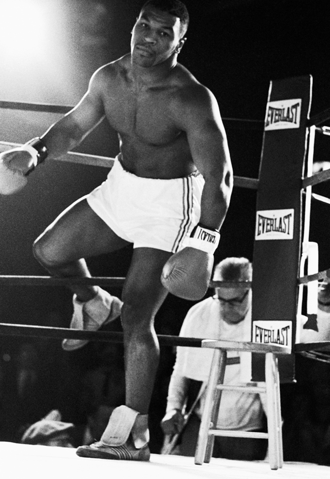 Mike Tyson Enters the Ring for His Bout with Conroy Nelson