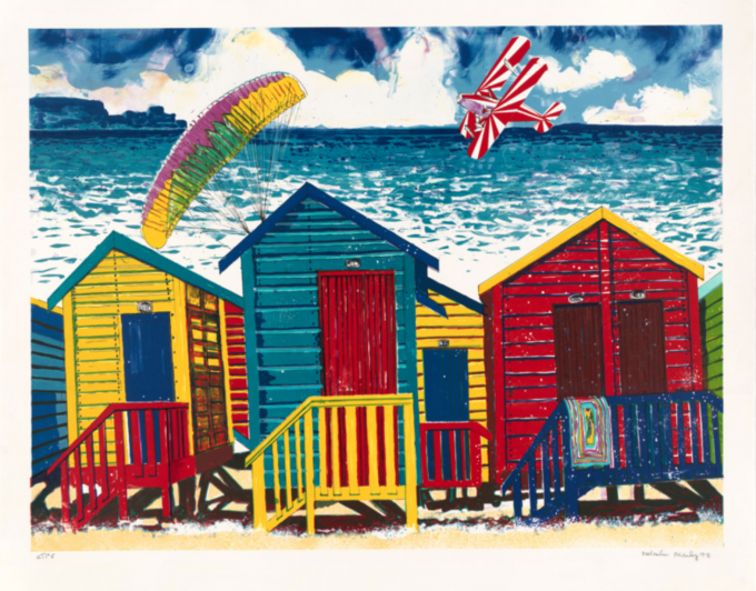 Malcolm Morley, Beach Scene with Parasailor