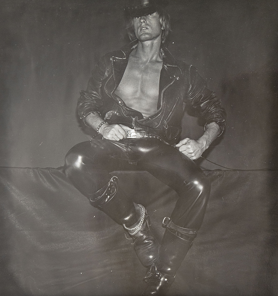 Self Portrait in Black Leather with Belt Buckle