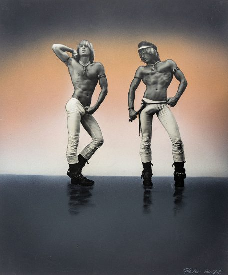 Peter Berlin, Double Self Portrait with Glowing Peach Background