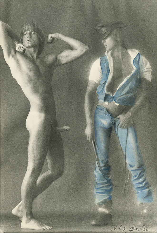 Double Self Portrait in Denim Outfit with Whip